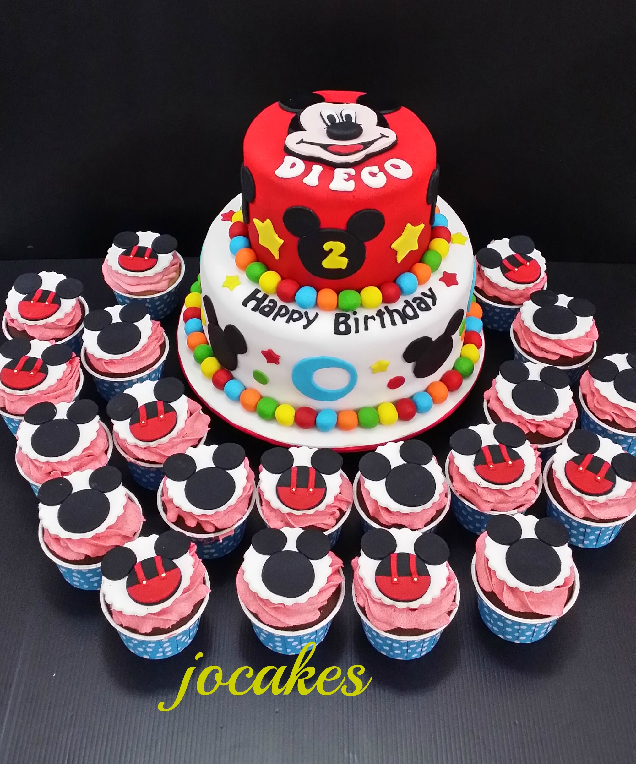 Mickey Mouse Theme Cake And Cupcakes For Diegos 2nd Birthday